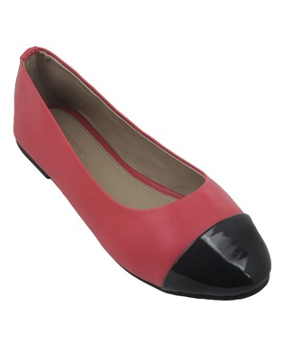 Trends & Trades Womens Two Tone Patent Leather Ballerinas Flats