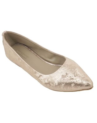 Trends & Trades hand crafted Metallic Gold Ballerinas Shoes