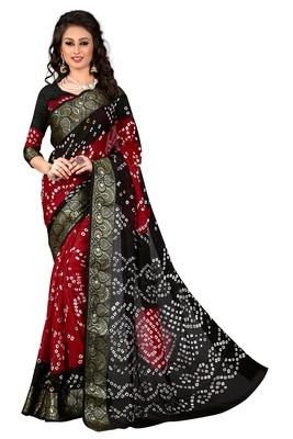 red woven art silk bandhani sarees