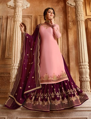 Light-pink embroidered georgette semi stitched salwar with dupatta