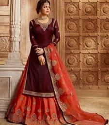 Maroon embroidered silk semi stitched salwar with dupatta