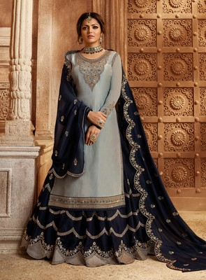 Light-sky-blue embroidered georgette semi stitched salwar with dupatta