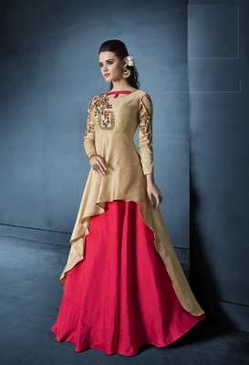Beige resham embroidery silk semi stitched salwar with dupatta