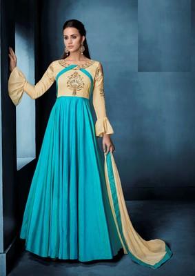 Beige resham embroidery taffeta semi stitched salwar with dupatta