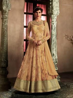 Light-orange diamond work net semi stitched salwar with dupatta