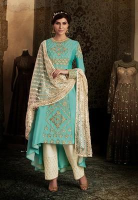 Sky-blue thread embroidery silk semi stitched salwar with dupatta