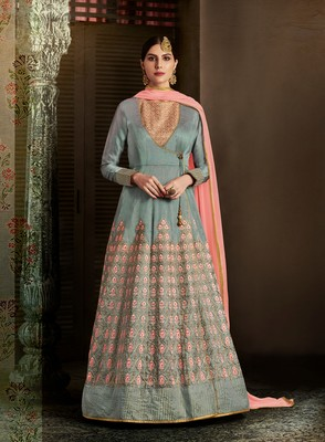 Grey embroidered silk semi stitched salwar with dupatta