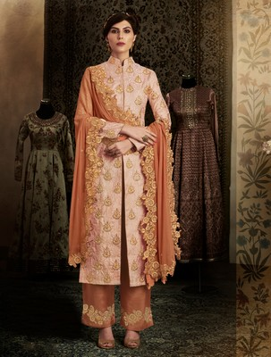 Peach booti brocade semi stitched salwar with dupatta