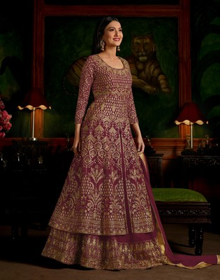 Magenta embroidered georgette semi stitched salwar with dupatta