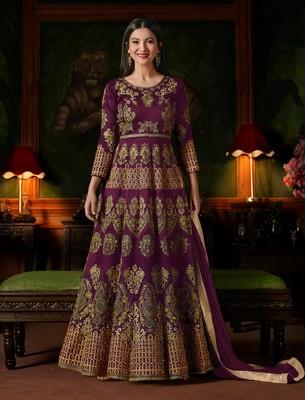 Purple embroidered taffeta semi stitched salwar with dupatta