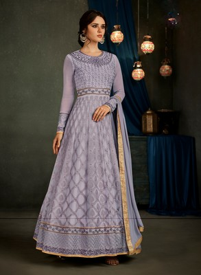 Light-purple embroidered georgette semi stitched salwar with dupatta