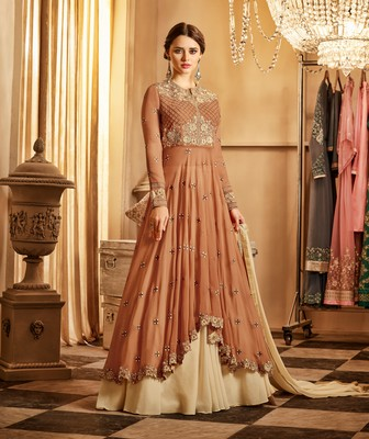 Brown fancy georgette semi stitched salwar with dupatta