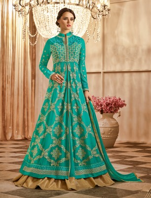 Turquoise embroidered georgette semi stitched salwar with dupatta