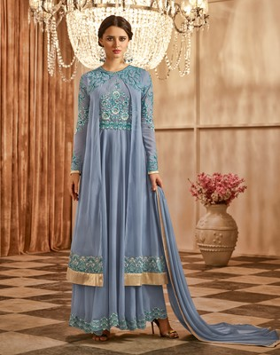 Light-blue embroidered georgette semi stitched salwar with dupatta