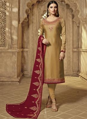 Gold embroidered georgette salwar