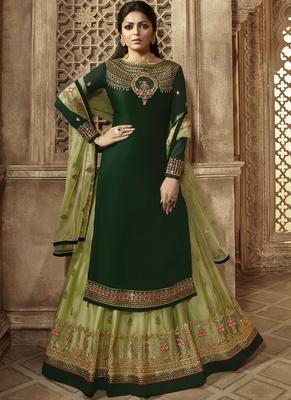 Green semi-stitch kameez with dupatta