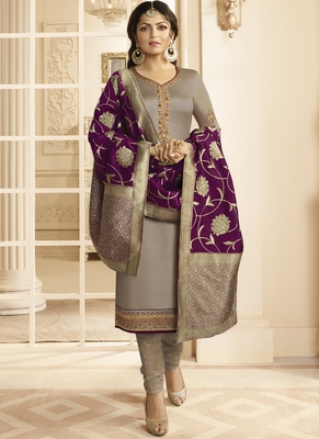Grey embroidered georgette salwar