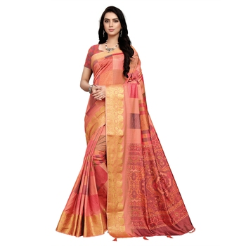 Light peach printed art silk saree with blouse