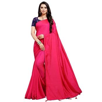 Hot pink printed art silk saree with blouse