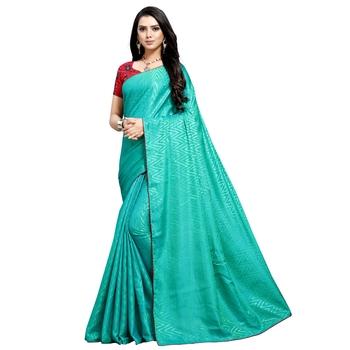 Light cyan printed art silk saree with blouse
