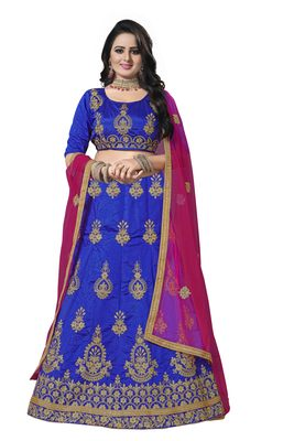 Blue embroidered art silk semi stitched lehenga