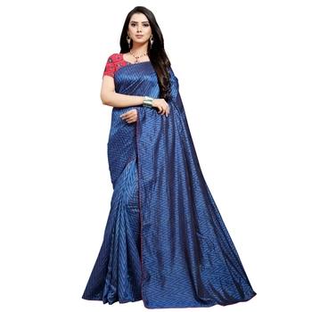 Dark navy blue printed art silk saree with blouse