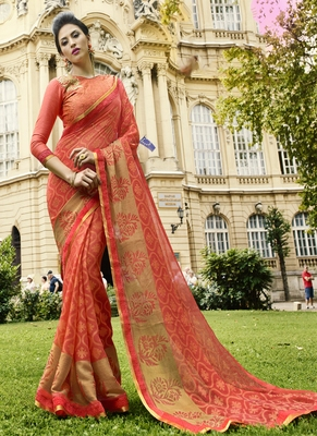 Rust printed brasso saree with blouse