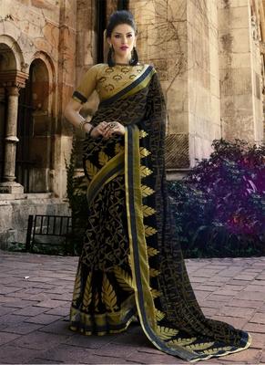 Black printed brasso saree with blouse