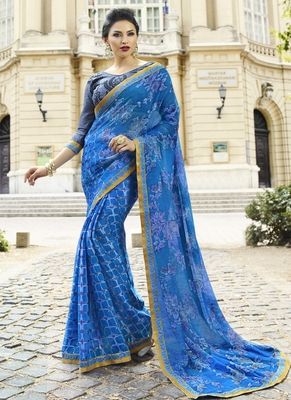 Sky blue printed brasso saree with blouse