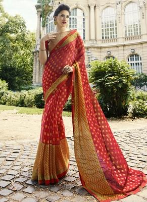 Crimson printed brasso saree with blouse