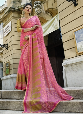 Light pink printed brasso saree with blouse