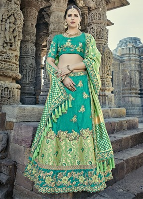 Teal embroidered silk semi stitched lehenga