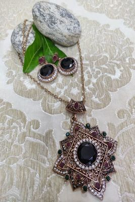 Black and Antique Gold Necklaces