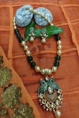 Green and White  Necklaces