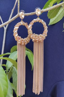 Golden and Peach  Earrings