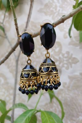 Black and Golden  Jhumkas