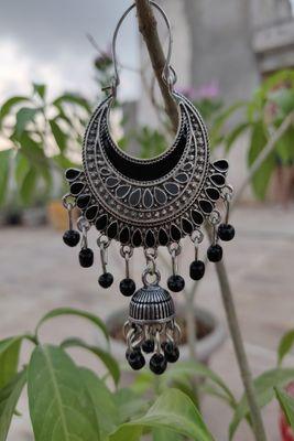 Silver and Black  chandbali
