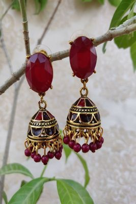 Golden and Red  Jhumkas