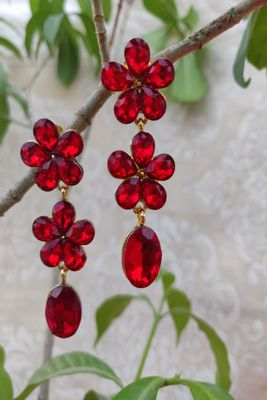 Golden and Red  Earrings