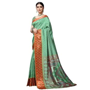 Dark turquoise printed art silk saree with blouse