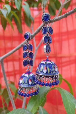 Silver and Blue Jhumkas