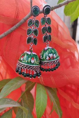 Green and Silver  Jhumkas