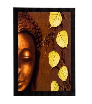 Lord Buddha & Leaves Satin Matt Texture UV Art Painting
