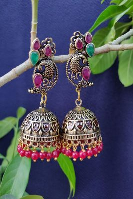 Golden and Pink  Jhumkas