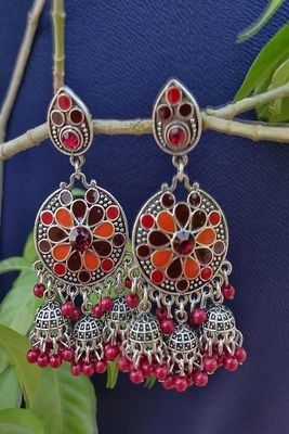 Silver and Red Earrings