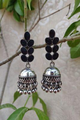 Silver and black  Jhumkas