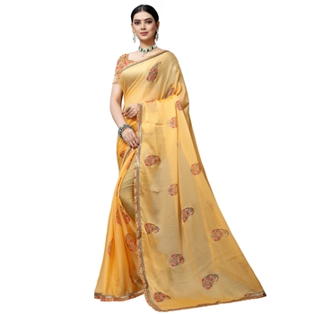 Dark yellow printed chiffon saree with blouse