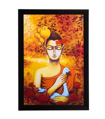 Lord Buddha With Swan Satin Matt Texture UV Art Painting