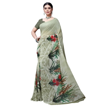 Light olive printed georgette saree with blouse