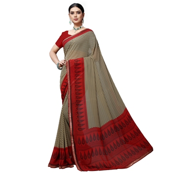 Dark chiku printed georgette saree with blouse